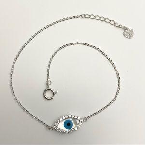 14K Solid White Gold Diamond Evil Eye Bracelet